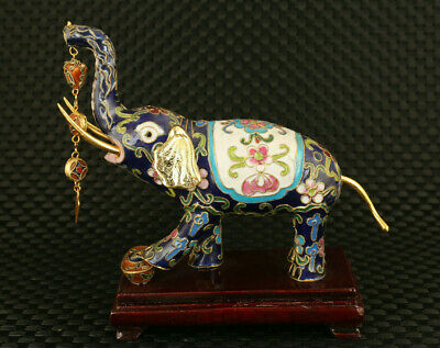 rare chinese old cloisonne fortune Elephant statue collectable table decoration