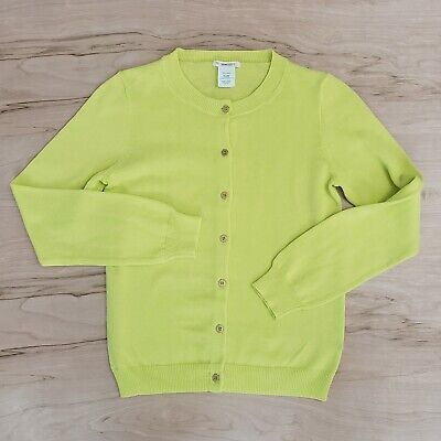 Crewcuts Cardigan Size 12 Girls Yellow Gold Color Buttons neon J Crew
