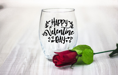 10 Valentines day Happy Valentines day vinyl Decal Stickers wine glass laptop