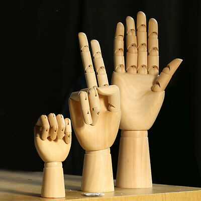 Wooden Hans Mannequin Left Right Artist Drawing Movable Finger Joints Modren Art