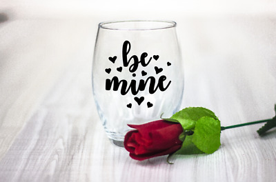 10 Valentines Day Be mine wine glass laptop decal stickers