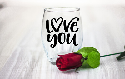 10 Valentines day Love You vinyl Decal Stickers wine glass laptop