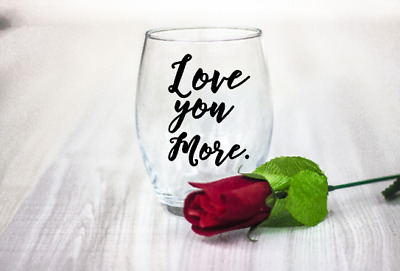 10 Valentines day Love you More vinyl Decal Stickers wine glass laptop