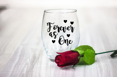 10 Valentines day Forever as One vinyl Decal Stickers wine glass laptop