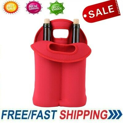 2 Bottle Drink/Wine/Beer Cooler Insulated Neoprene Tote Bag Carrier Gift Party