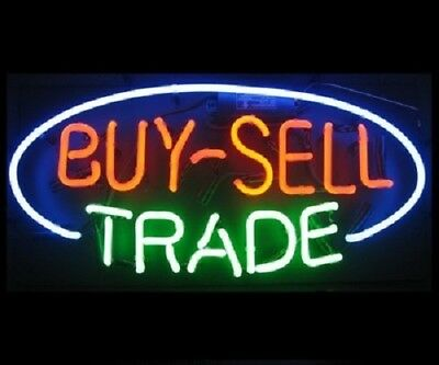 "New Buy Sell trade Bar Poster Beer Light Lamp Neon Sign 17""x14"" Open Glass Tube"