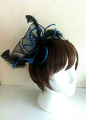 Brand New Black & Blue Feather & Sinamay Hand Crafted Fascinator on Head Band