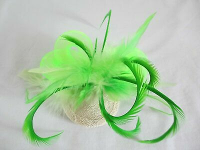 Brand New Hand Crafted Green Feather, Crin & Sinamay Fascinator
