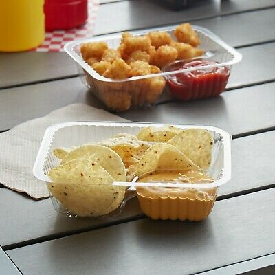 500 Pack - Small Clear 2 Compartment Plastic Disposable Rectangle Nacho Tray