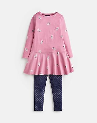 Joules Girls Iona Tunic And Legging Set  - PINK SHOOTING STAR Size 1yr