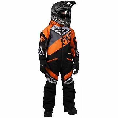 FXR Fuel Kids Snow Monosuit Black/Charcoal/Orange 8