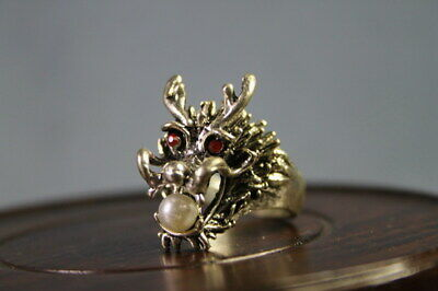 Handwork Collectable Decorative Chinese Miao Silver Carved Dragon Exquisite Ring
