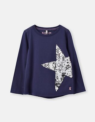 Joules Girls Ava Applique T Shirt  - NAVY STAR Size 7yr-8yr