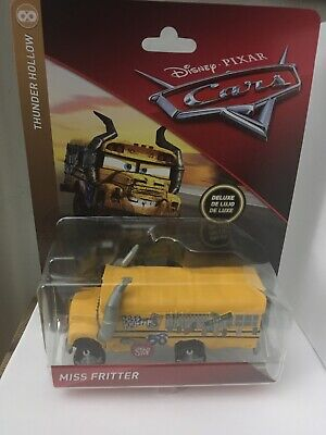 DISNEY PIXAR CARS MISS FRITTER SCHOOL BUS DELUXE Thunder Hollow