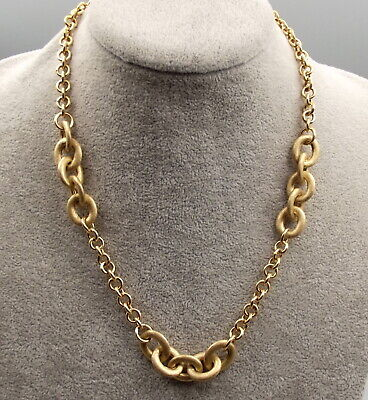 Vtg Sterling Silver Rolo Oval Link Necklace Vermeil Gold Signed Itaor Italy