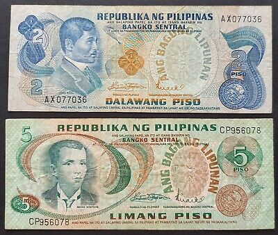 2x Phillippines Banknotes 2 & 5 Piso 1949