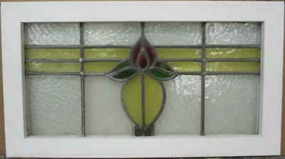 "MIDSIZE OLD ENGLISH LEADED STAINED GLASS WINDOW Cute Floral Band 24.5"" x 13.75"""