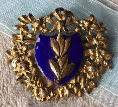 Antique 1910s Art Nouveau Blue Enamel ornate wreath shield rolled gold Brooch