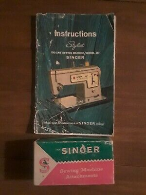 Vintage Singer 457 Stylist 1960s Sewing Machine MANUAL and Attachment's