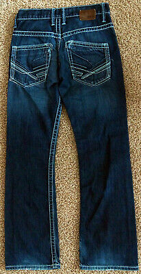 BKE Buckle CARTER Jeans Boot Cut Dark Blue Denim Pants Men 26 Short Boys