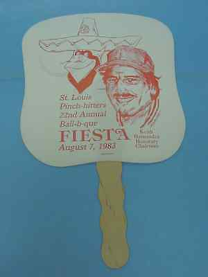 Adv. Hand Fan: 1983 St. Louis Cardinals Pinch Hitters Annual Bbq Keith Hernandez