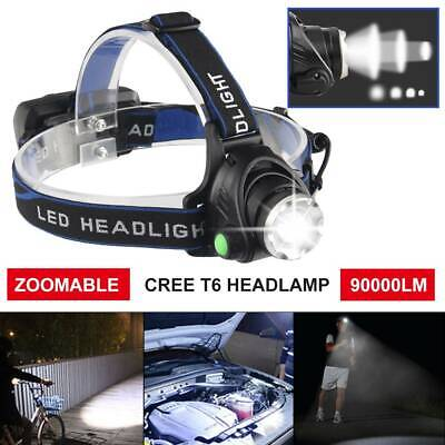 90000LM Zoomable LED Headlamp Rechargeable Headlight CREE XML T6 Head Torch A