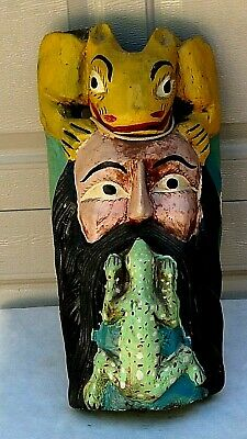 1920c WOOD ETHNIC HAND CARVED &PAINTED RITUAL MASK A MAN WITH FROG