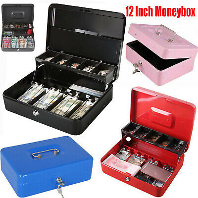 """Metal Steel Petty Money Cash With Coin Tray Box Bank Security Lock 2 Keys 6""""-12"""""""