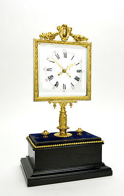 Original 1850 French Robert Houdin Square Glass Dial Double Hand Mystery Clock