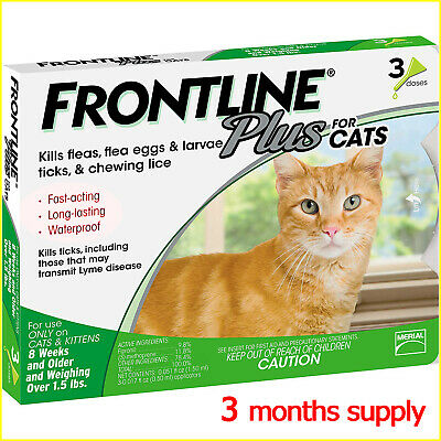 Frontline Plus Flea and Tick Treatment for Cats & Kittens 3 doses for 3 months