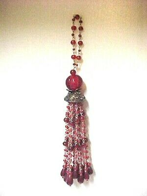"WONDERFUL pair of antique/vtg RED glass bead decorative 11"" TASSELS"