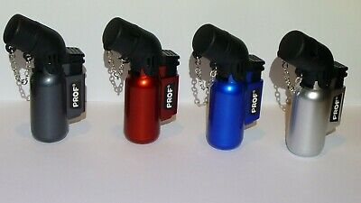 Lighter Prof Angled  Windproof Twin Blue Jet Flame In 4 Colours With Chained Cap