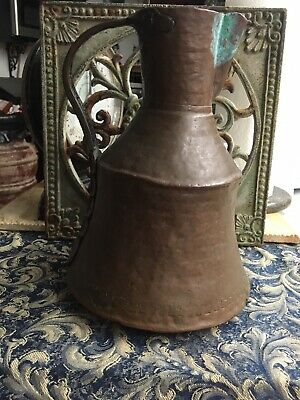 Vintage Shabby Brass and Copper Pitcher Patina Rustic Copper Pitcher