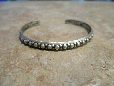 FINE OLD PAWN  Navajo Sterling Silver BEADED Row Bracelet