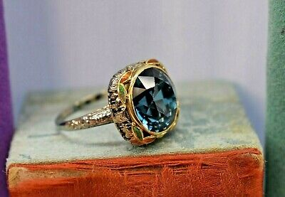 Antique Art Deco 18k yellow white gold filigree enamel large blue zircon ring