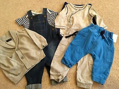 Small bundle 3-6m boys jogging bottoms cardigan dungarees set Next Blue Zoo