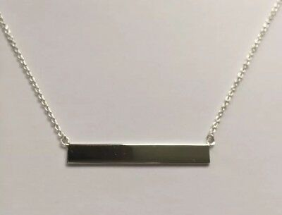 .925 Sterling Silver Solid Straight Sideways Horizontal Bar Pendant Necklace New