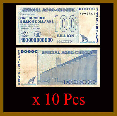 Zimbabwe 100 Billion Dollars Agro Cheque x 10 Pcs Bundle, 2008 Used (Cir)