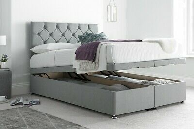 SILVER GREY END LIFT OTTOMAN DIVAN BED BASE STORAGE ALL SIZES 4FT 3FT 4FT6 5FT
