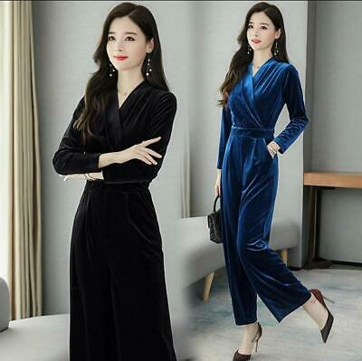Womens Gold Velvet Wide Leg Jumpsuit Sexy V-neck Formal Business OL Suits Zsell