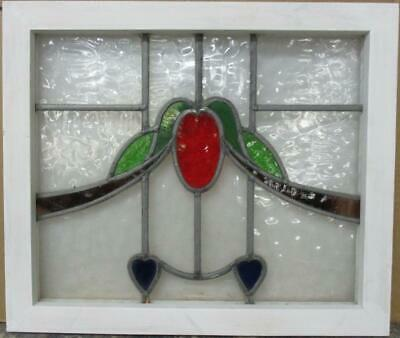 """OLD ENGLISH LEADED STAINED GLASS WINDOW Colorful Swag with Hearts 21"""" x 17.75"""""""
