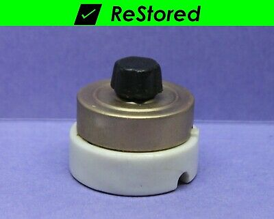⭐ Vintage Rotary Light Switch - Brass/Porcelain Round Single-Pole ON/OFF Turn