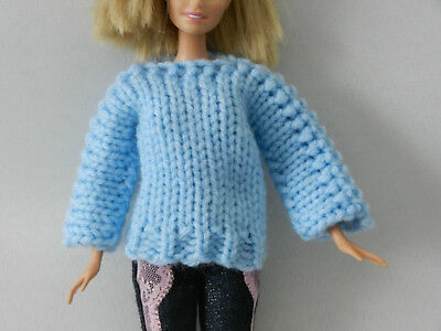 Sweater for Barbie Lt. Blue doll clothes fits Sparkle Girlz and other dolls