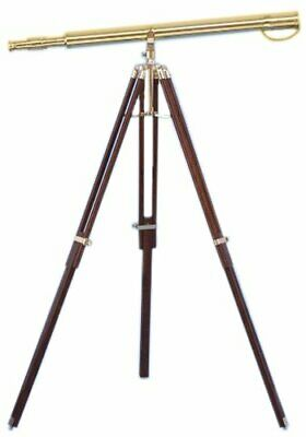 Nautical Single Barrel TELESCOPE 39 Inch Spyglass Brass With Wooden Tripod Stand