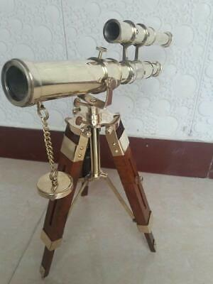 10 Inch Vintage Nautical Decorative Solid Brass Telescope W/ Wooden Tripod Gift