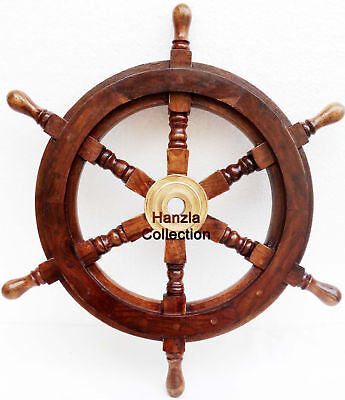 """Collectible Wooden Ship Wheel Pirate Captain Boat Steering Nautical Maritime 24"""""""