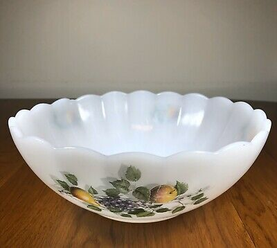 Vintage Arcopal France Glass Serving Bowl,  Milk Glass Scalloped Edge 9""
