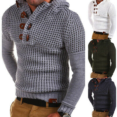 Men Knitted Casual Jumper Sweater Hooded Pullover Warm Knit Long Sleeve Slim Top