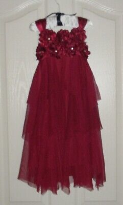 BISCOTTI Girls Dress White Tulle Ruffle Rose Flower 4 Wedding Party SIZE 7 NEW!