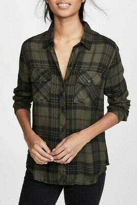 RAILS BRENT shirt OLIVE JET plaid top rayon long sleeves
